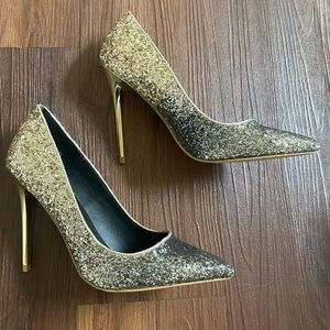 Gold black ombré gradient glitter heels pumps